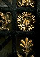 Brass floral motif, close-up