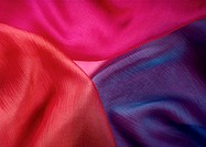 Fabrics of three colors, close-up