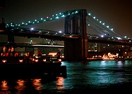 USA, NY, Brooklyn Bridge, lit up at night