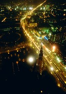 Germany, Berlin, ciity thoroughfare at night, aerial view