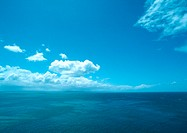 New Zealand, blue sky with clouds and seascape