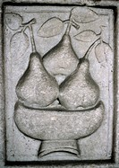 Pears in bowl, relief carved in stone
