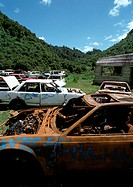 Car junkyard in rural area