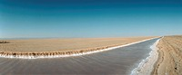 Tunisia, canal in desert landscape, panoramic view