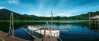 Indonesia, boat on lake, panoramic view