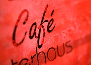 'Cafe' text, close-up