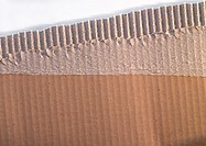 Piece of corrugated carboard, close-up
