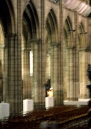 Columns in a church, blurred