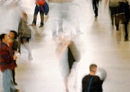 People walking, high angle view, blurred