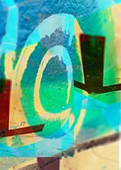 Copyright symbol painted on wall, composite, close-up