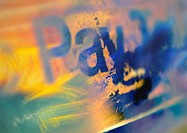 'Pay' text, close-up