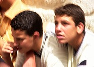 Israel, Jerusalem, two boys, close-up, blurry