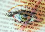 Story text overlaying close up of an eye, montage