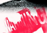 'Warning' typography in red, with fingerprint, montage