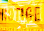 'Notice' typographic sign in yellow, montage