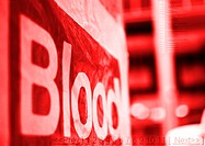 'Blood' sign in red, close-up