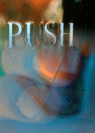 'Push' typography overlaying blurry button, montage