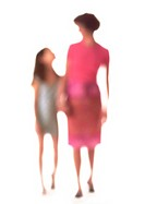 Silhouette of mother and daughter holding hands, on white background, defocused