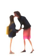 Silhouette of mother and daughter kissing on white background, defocused
