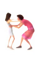 Silhouette of mother and daughter about to hug, on white background, defocused