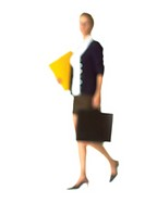 Silhouette of businesswoman carrying files and breifcase, on white background, defocused