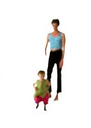 Silhouette of woman and child, on white background, defocused