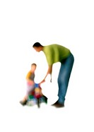 Silhouette of man playing with child, on white background, defocused