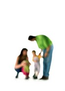 Silhouette of parents speaking to two children, on white background, defocused