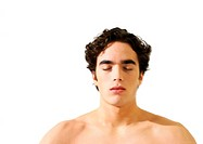 Topless man with eyes closed, head and shoulders