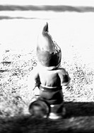 Garden gnome, rear view, b&w
