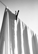 Bed sheet hanging on line with clothes pin, b&amp;w