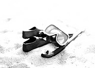 Swimming mask, snorkel and flippers, b&amp;w