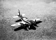 Toy airplane, b&w