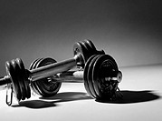 Dumbbells, close-up, b&amp;w
