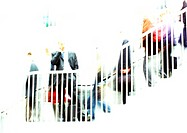 Businessman on stairs, blurred