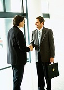Businessmen shaking hands, full length
