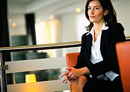 Businesswoman waiting in lobby area