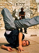 Man break dancing, close-up