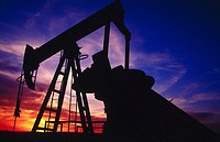 Oil well at sunset. Oklahoma. USA