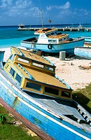 Fishing boats. Oistin. Barbados. West Indies. Caribbean