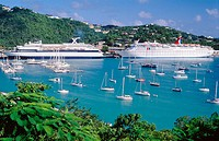Cruise at the port. St. Thomas. American Virgin Islands. West Indies. Caribbean