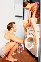 Couple with washing machine