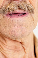 Chin and moustache of old man