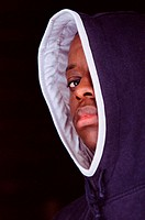 Teenage boy wearing hooded jacket (thumbnail)