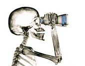 X Ray of a Businessman Looking Through Binoculars