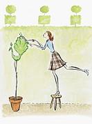 Woman Pruning Topiary Tree