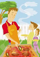 Father Cooking Meat on a  Barbecue and His Son and Daughter Waiting Holding their Plates