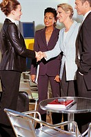 Business Executives Greeting a Businesswoman Before An Interview