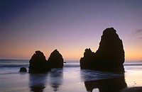 Sea stacks at twilight. Rodeo Beach. Golden Gate National Recreation Area. Marin County. California. USA