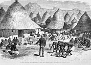Reception of the doctor Livingstone by the Tchitapanngoua, drawing by E. Bayard. Engraving from 'Le tour du monde'